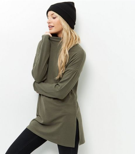 Olive Green Funnel Neck Tunic  | New Look