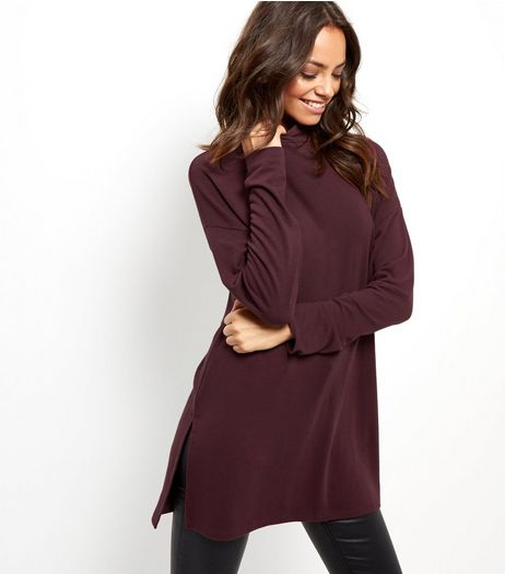 Burgundy Brushed Funnel Neck Tunic  | New Look