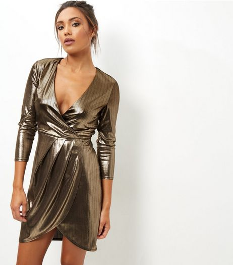 Gold Metallic 3/4 Sleeve Wrap Front Bodycon Dress | New Look