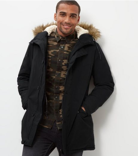 Black Faux Fur Trim Hooded Parka | New Look