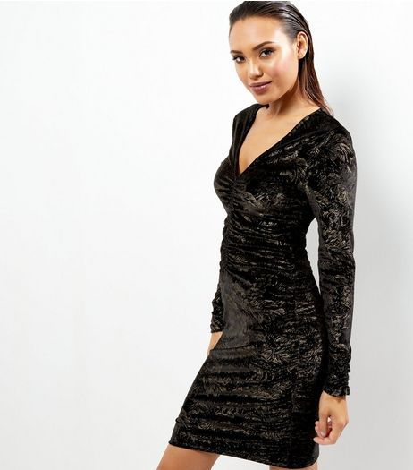 Black Velvet Gold Foil Ruched Front Bodycon Dress | New Look
