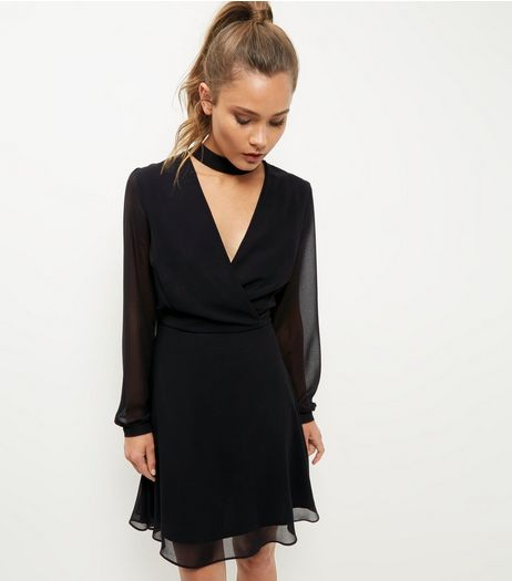 Black Choker Neck Chiffon Wrap Dress | New Look