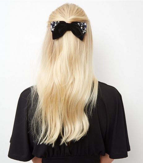 Black Embellished Velvet Bow Hair Clip | New Look