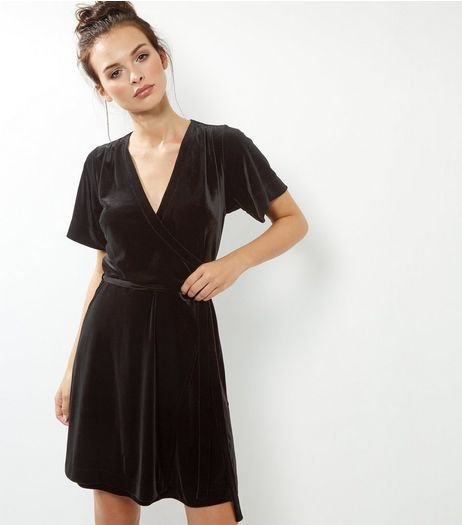 Black Velvet V Neck Wrap Front Dress | New Look