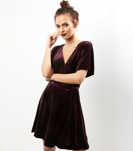 Dark Purple Velvet Wrap Front Dress | New Look
