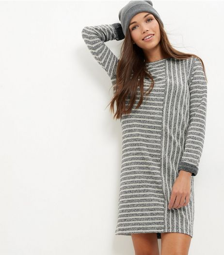 Grey Contrast Stripe Tunic Dress | New Look
