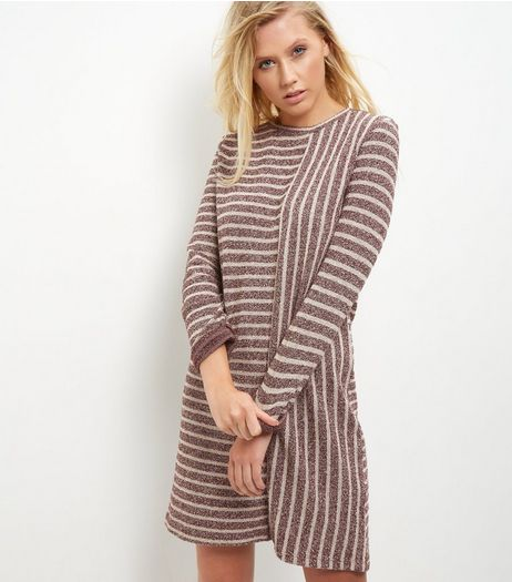 Red Contrast Stripe Tunic Dress | New Look