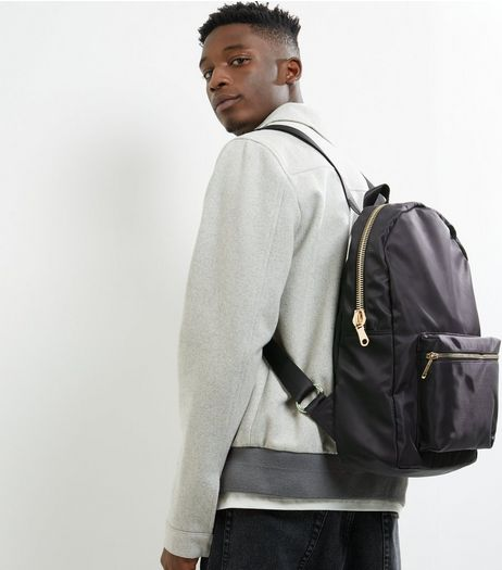Black Pocket Front Backpack | New Look