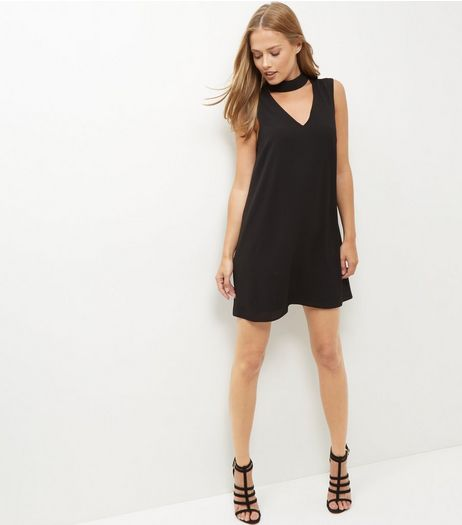 Black Textured Choker Tunic Dress  | New Look
