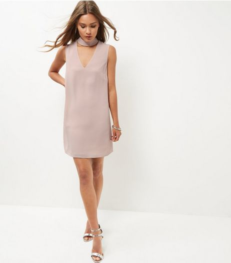 Mid Pink Textured Choker Tunic Dress  | New Look