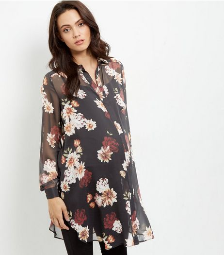 Maternity Black Floral Print Longline Shirt | New Look
