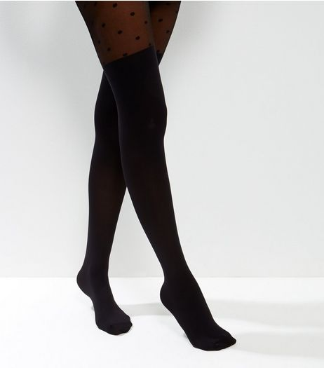 Black Spot Mesh Top Tights | New Look
