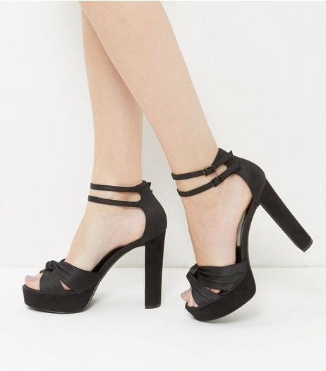 Black Satin Knot Platform Heels | New Look