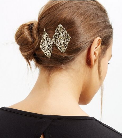 Gold Filigree Hair Slides | New Look