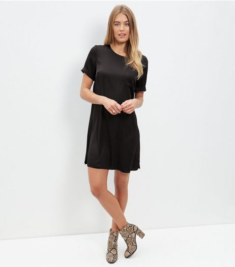 Black Sateen Single Pocket Front T-Shirt Dress  | New Look
