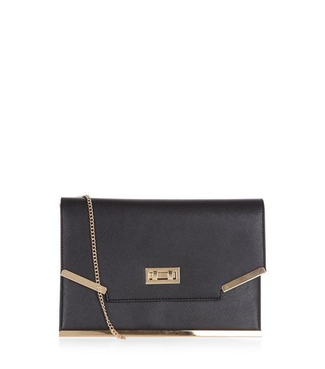 Black Leather-Look Metal Trim Clutch  | New Look