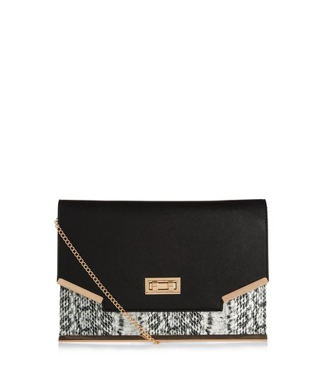 Black Snakeskin Print Panel Clutch Bag  | New Look