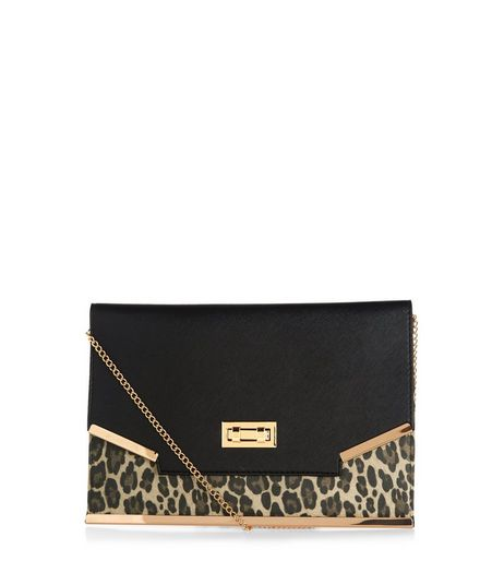 Black Leopard Print Panel Clutch  | New Look