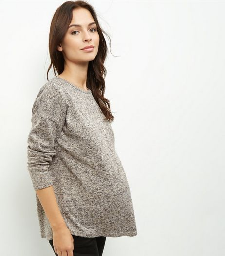 Maternity Camel Fine Knit Zip Back Jumper | New Look