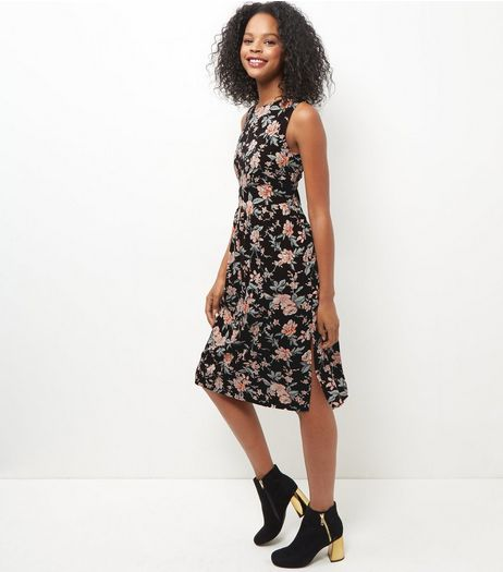 Black Floral Print Lattice Back Midi Dress  | New Look