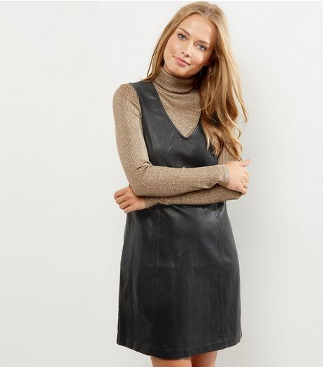 Black Leather-Look Shift Dress | New Look