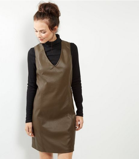 Olive Green Leather-Look Sleeveless Shift Dress | New Look