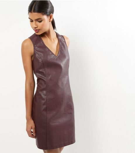 Purple Leather-Look Sleeveless Shift Dress | New Look