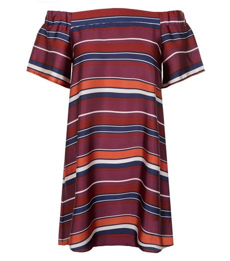 Petite Red Stripe Bardot Neck Dress | New Look