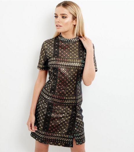 Black Metallic Tile Print Shift Dress | New Look