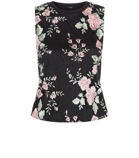 Petite Black Floral Print Sleeveless Top | New Look
