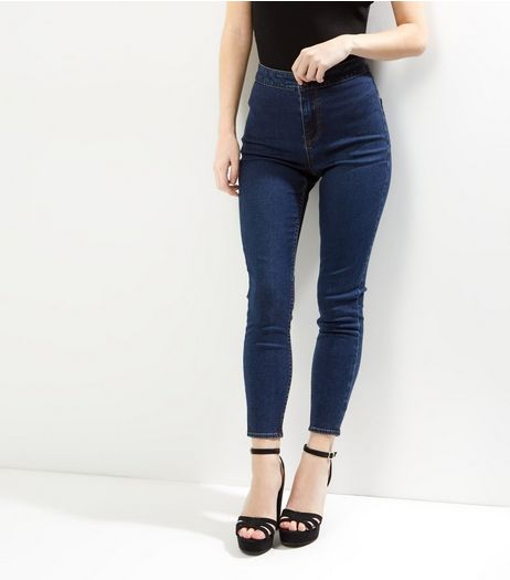 Petite Blue High Waisted Skinny Jeans | New Look