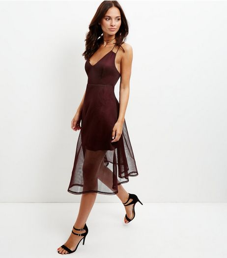 Burgundy Airtex Overlay Dress  | New Look