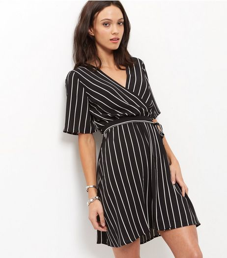 Monochrome Stripe Wrap Front Dress  | New Look