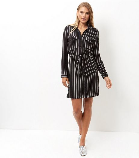 Black Stripe Double Pocket Tie Waist Skirt Dress  | New Look