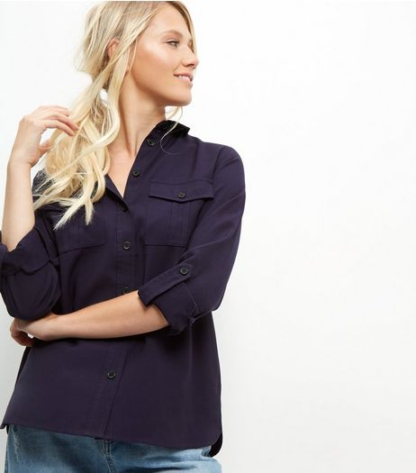 Navy Military Shirt | New Look