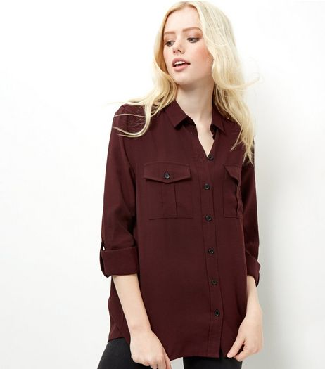 Burgundy Military Shirt | New Look