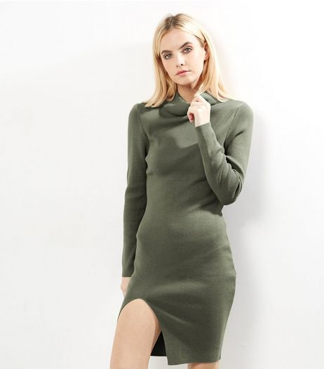 Petite Olive Green Ribbed Funnel Neck Side Split Dress | New Look