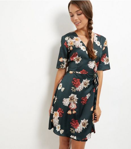 Green Floral Print Sateen Wrap Front Dress | New Look
