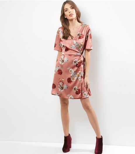Pink Sateen Floral Print Wrap Front Dress | New Look