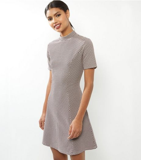 White Geo Print Short Sleeve Tunic Dress | New Look
