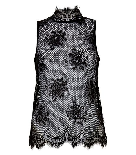 Cameo Rose Black Lace High Neck Top | New Look