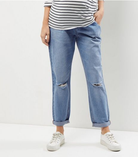 Maternity Blue Ripped Knee Under Bump Boyfriend Jeans | New Look