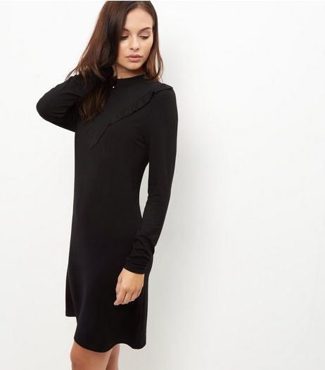 Black Frill Trim Long Sleeve Jersey Dress | New Look