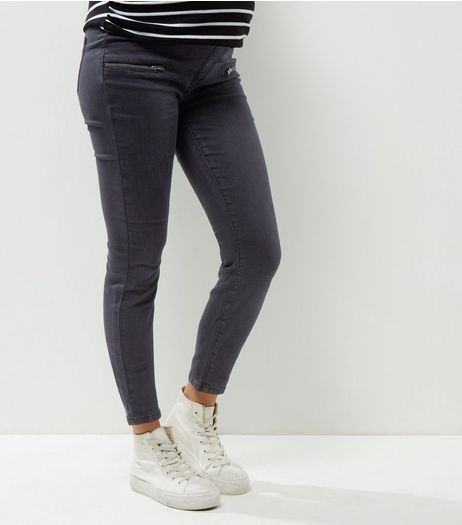 Maternity Black Doube Zip Under Bump Skinny Jeans | New Look
