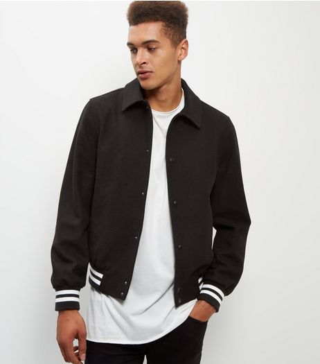 Black Wool Mix Stripe Trim Bomber Jacket | New Look