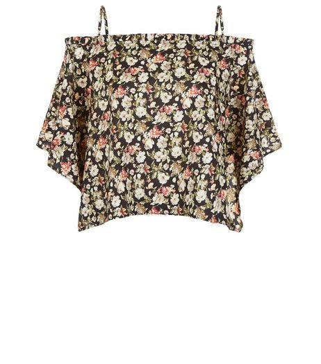 Cameo Rose Black Ditsy Floral Hanky Hem Top | New Look