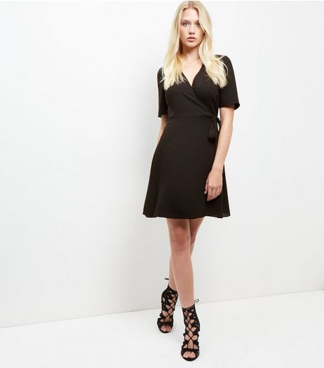 Black Crepe Wrap Front Tie Waist Dress  | New Look