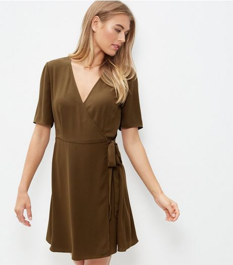 Olive Green Tie Side Wrap Front Dress | New Look