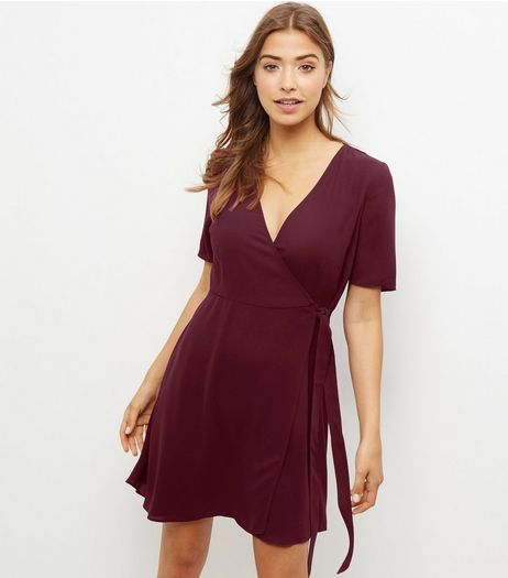 Burgundy Crepe Wrap Front Dress | New Look
