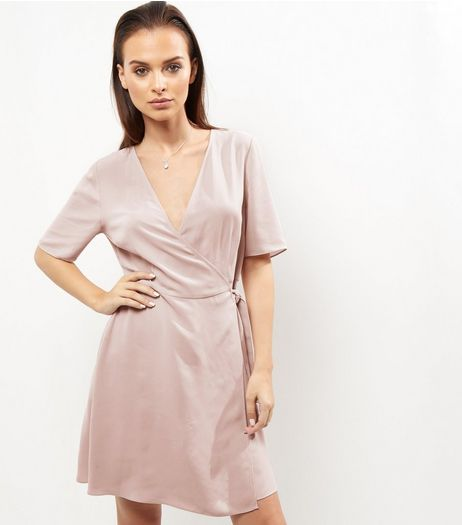 Mid Pink Crepe Wrap Front Tie Waist Dress | New Look